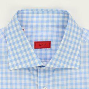 Isaia Napoli Current Label Dress Shirt Blue/White